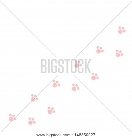Dog cat paw print track diagonal. Pink footprint set. White background. Isolated. Flat design. Vector illustration