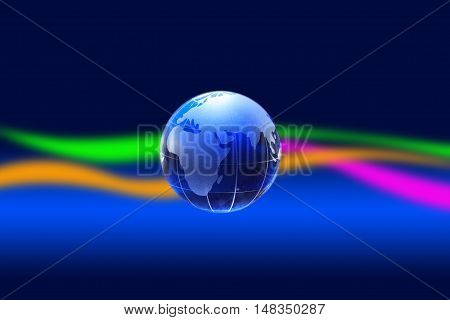 Glass globe on nice dark background with colored lines