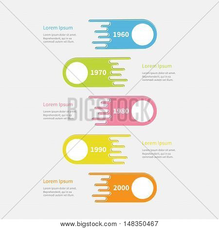Five step Timeline Infographic. Vertical colorful comet shape with empty round circle. Template. Flat design. White background. Vector illustration