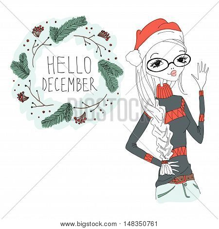 Hello December Colorful Illustration with a Hello December Typography Lettering, Winter Holiday Wreath and a Fashion Girl. Artistic Fashion Hello December Vector Illustration for Print, Blogging