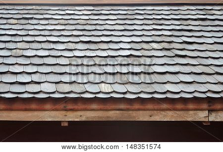 Wood shingles roof. Hand made roof made from teak wood.
