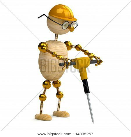 3D Wood Man  Working With Jackhammer