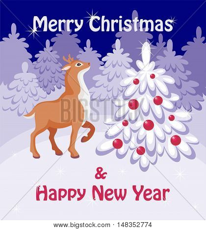 Merry Christmas greeting card with the image of a fairy-tale winter forest, Christmas tree and fawn