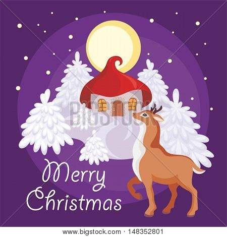 Merry Christmas greeting card with the image of a fairy-tale winter forest, small house and fawn