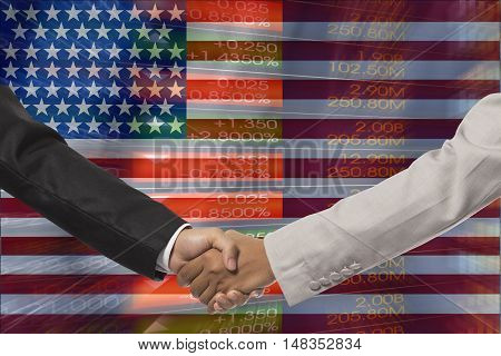 Business handshake against marble surface. business concept