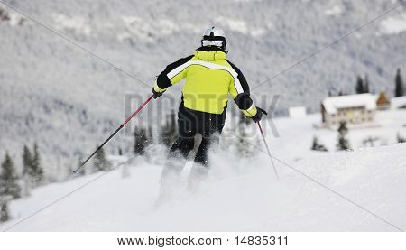 skiers group of+have fun and relaxation on winter mountain