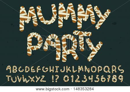 Decorative mummy alphabet set. Wrapped letters, numbers, exclamation and question mark. Orange elements with dirty white bandage isolated on dark background. Halloween party decor and invitation cards