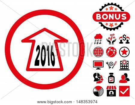 2016 Ahead Arrow icon with bonus pictures. Vector illustration style is flat iconic bicolor symbols intensive red and black colors white background.