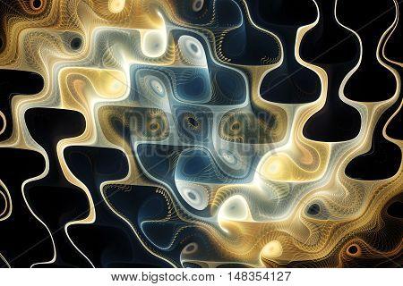 Abstract colorful waves on black background. Fantasy fractal texture in blue light orange and beige colors. Digital art. 3D rendering.