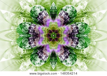 Abstract flower mandala on white background. Intricate symmetric pattern in purple green and black colors. Fractal design for posters postcards wallpapers or t-shirts. Digital art. 3D rendering.