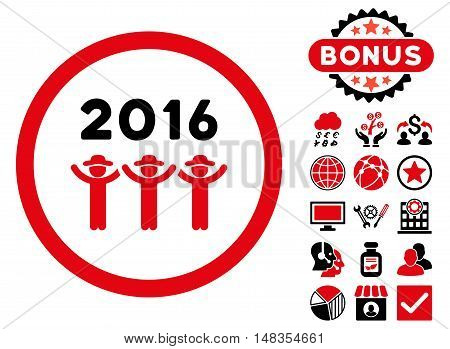 2016 Guys Dance icon with bonus pictogram. Vector illustration style is flat iconic bicolor symbols intensive red and black colors white background.
