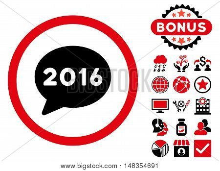 2016 Message icon with bonus elements. Vector illustration style is flat iconic bicolor symbols intensive red and black colors white background.