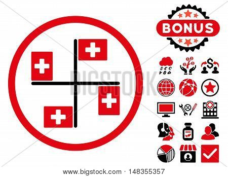 4 Hospital Flags icon with bonus pictures. Vector illustration style is flat iconic bicolor symbols intensive red and black colors white background.