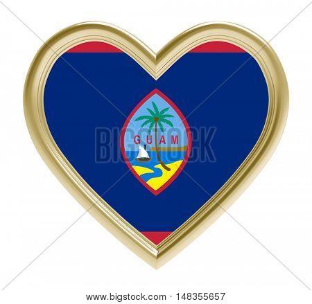 Guam flag in golden heart isolated on white background. 3D illustration.