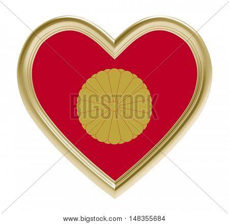 Japanese Emperor flag in golden heart isolated on white background. 3D illustration.