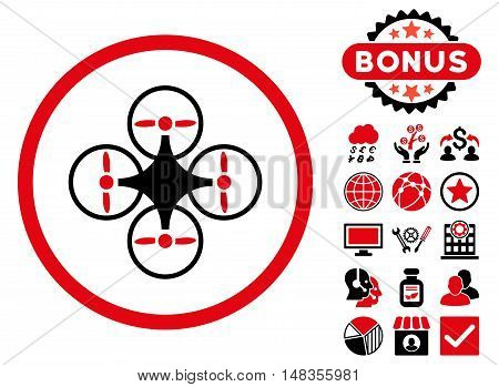 Air Copter icon with bonus pictogram. Vector illustration style is flat iconic bicolor symbols intensive red and black colors white background.