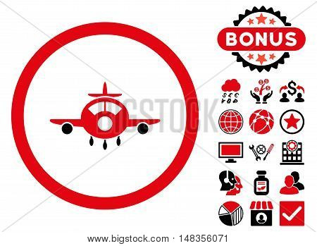 Aircraft icon with bonus symbols. Vector illustration style is flat iconic bicolor symbols intensive red and black colors white background.