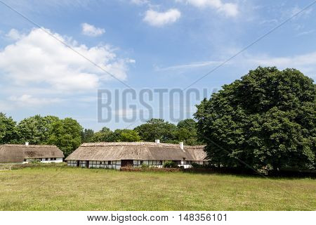 Lyngby, Denmark - June 23, 2016: Ancient danish half-timbered farmhouses with straw roof