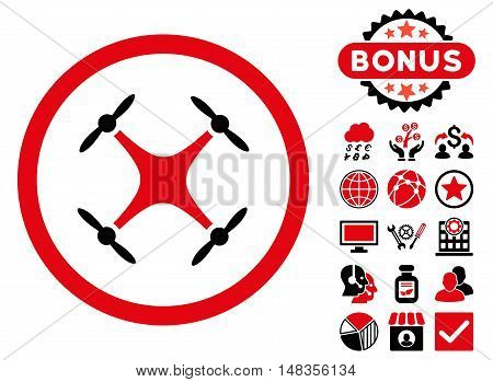 Airdrone icon with bonus pictogram. Vector illustration style is flat iconic bicolor symbols intensive red and black colors white background.