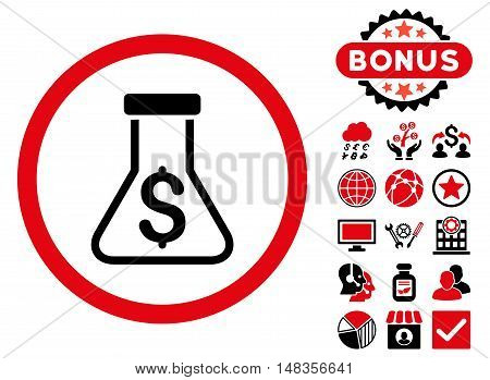 Alchemy icon with bonus pictogram. Vector illustration style is flat iconic bicolor symbols intensive red and black colors white background.