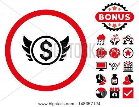 Angel Investment icon with bonus design elements. Vector illustration style is flat iconic bicolor symbols intensive red and black colors white background.