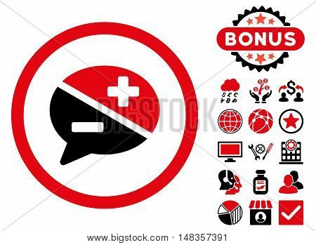 Arguments icon with bonus symbols. Vector illustration style is flat iconic bicolor symbols intensive red and black colors white background.