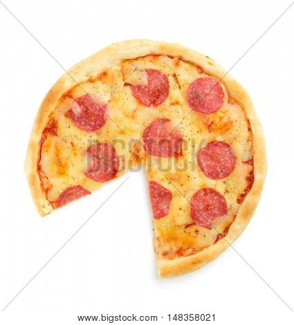 pepperoni pizza isolated on white background