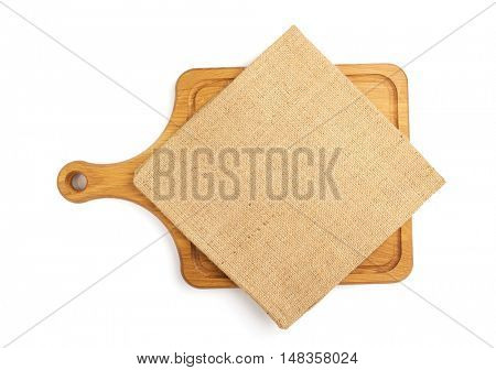 cutting board and napkin isolated  on white background