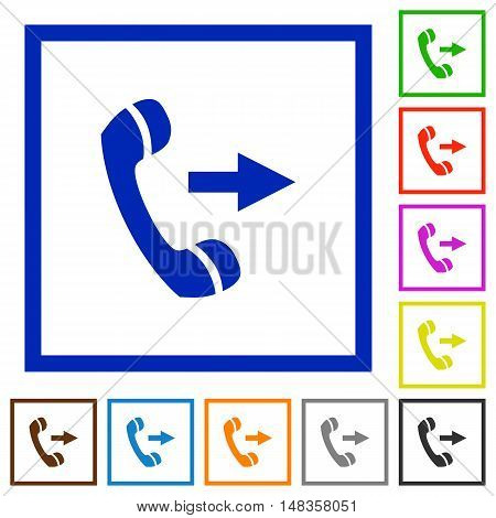Set of color square framed outgoing call flat icons