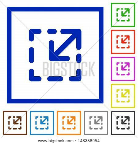 Set of color square framed resize element flat icons
