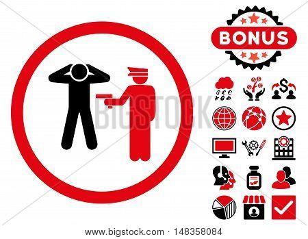 Arrest icon with bonus design elements. Vector illustration style is flat iconic bicolor symbols intensive red and black colors white background.