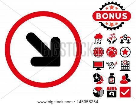 Arrow Down Right icon with bonus symbols. Vector illustration style is flat iconic bicolor symbols intensive red and black colors white background.