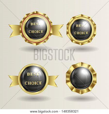 vector illustration of logo, a trademark with a shiny black background and place for text, gold rim tape