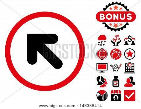 Arrow Up Left icon with bonus design elements. Vector illustration style is flat iconic bicolor symbols intensive red and black colors white background.