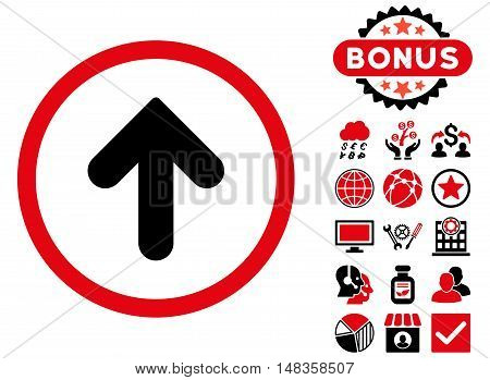 Arrow Up icon with bonus symbols. Vector illustration style is flat iconic bicolor symbols intensive red and black colors white background.