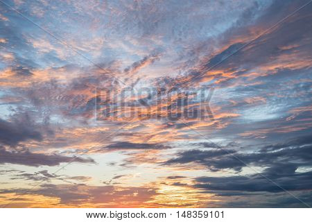 abstract beautiful colorful sunset sky and clouds in summer - can use for background or backdrop in natural environment concepts