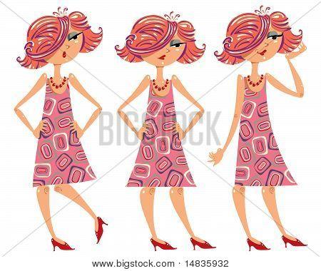 Cartoon girl illustrations set.