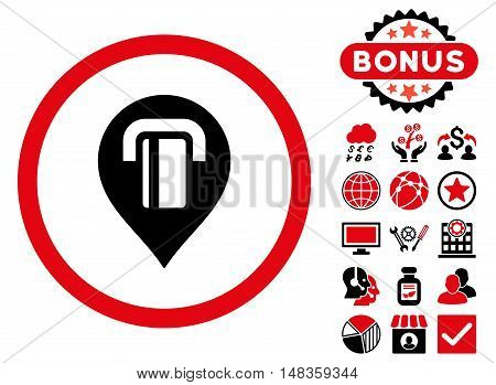 Atm Map Marker icon with bonus pictures. Vector illustration style is flat iconic bicolor symbols intensive red and black colors white background.