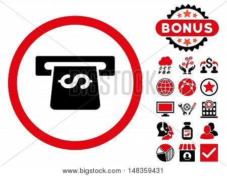 Atm icon with bonus pictures. Vector illustration style is flat iconic bicolor symbols intensive red and black colors white background.