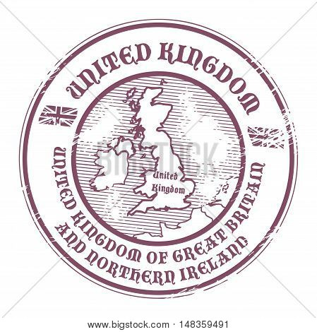 Grunge rubber stamp with the name and map of United Kingdom, vector illustration