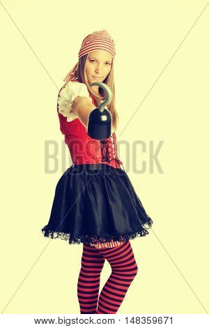 Halloween pirate costume woman with hook