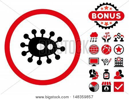 Bacilla icon with bonus pictures. Vector illustration style is flat iconic bicolor symbols intensive red and black colors white background.
