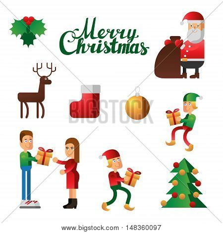 Vector set of christmas elements on white background
