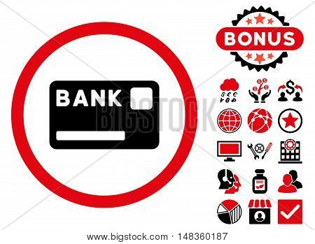 Bank Card icon with bonus symbols. Vector illustration style is flat iconic bicolor symbols intensive red and black colors white background.