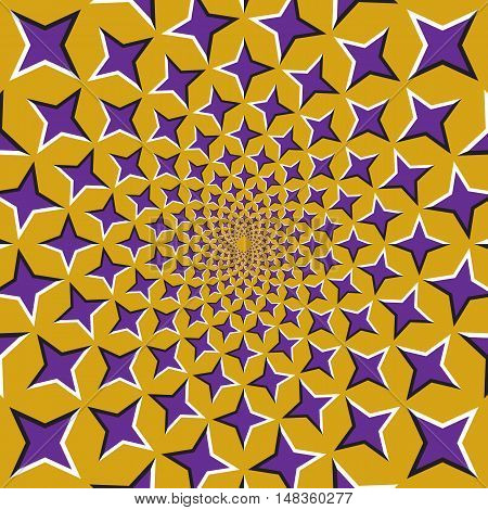 Optical illusion background. Purple four pointed stars are moving circularly from the center on golden background. Purple stars background.
