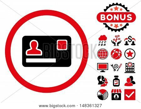 Banking Card icon with bonus elements. Vector illustration style is flat iconic bicolor symbols, intensive red and black colors, white background.