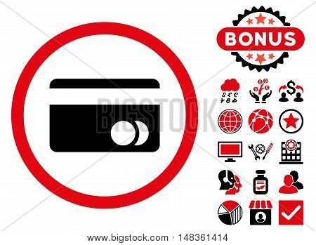 Banking Card icon with bonus design elements. Vector illustration style is flat iconic bicolor symbols, intensive red and black colors, white background.