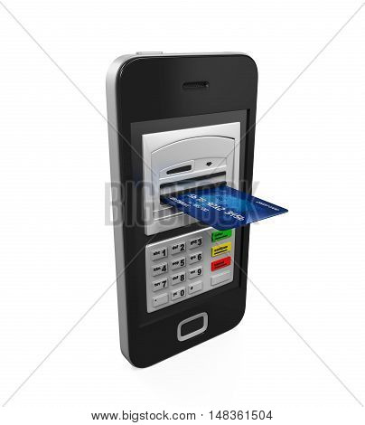 Mobile Banking Concept isolated on white background. 3D render