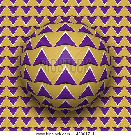 Ball with a purple arrows pattern rolls along purple arrows surface. Abstract vector optical illusion illustration. Motion background and tile of seamless wallpaper.
