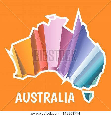 Digital vector australia map with abstract colored triangles and white outline, flat style